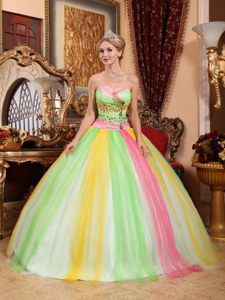 Multi-color Quinceanera Dress Rhinestones in Tulle with Lace up Back