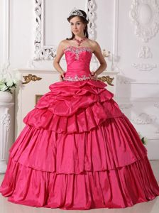 Multi-tiered Appliques and Ruches Sweet Sixteen Dresses in Hot Pink