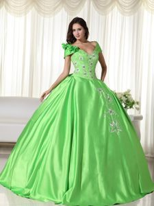 Green off the Shoulder Sweet Sixteen Dresses Embroidery in Vogue
