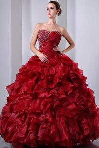 Noble Ruffled Quinceanera Dress with Beading and Ruches in Wine Red