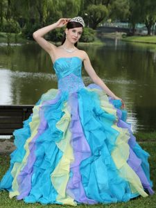 Sophiscated Strapless Ruffled Sweet 15 Dresses Ruches and Appliques