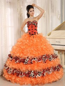 Special Leopard Dresses for a Quince Sweetheart Ruffles and Appliques
