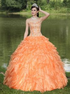 Tasty Orange Sweetheart Quinceanera Dress with Rhinestone and Ruffles