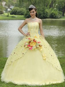 Yellow Quinceanera Gowns with Embroidery and Hand Made Flowers