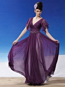 Fashionable Dark Purple Homecoming Dress Prom and Party and For with Beading and Ruching V-neck Short Sleeves Side Zipper