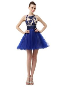 Scoop Sleeveless Prom Dress Knee Length Appliques Royal Blue Organza