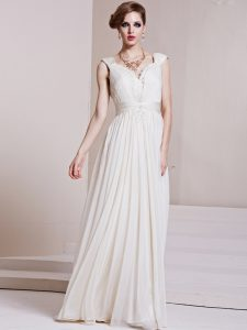 Excellent White Prom Dress Prom and Party and For with Beading and Ruching V-neck Cap Sleeves Backless