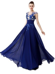 High-neck Cap Sleeves Homecoming Dress Floor Length Beading and Appliques Blue Chiffon
