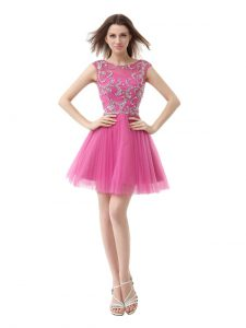 Rose Pink Scoop Zipper Beading and Sequins and Pleated Cap Sleeves