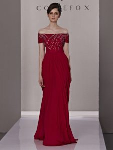 Off the Shoulder Red Short Sleeves Floor Length Beading and Ruching Zipper Prom Dresses