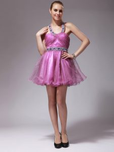 Trendy Halter Top Rose Pink Organza Zipper Prom Evening Gown Sleeveless Mini Length Beading