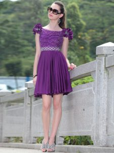 Dynamic Scoop Knee Length Zipper Prom Dress Purple and In for Prom and Party with Beading and Hand Made Flower