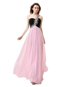 One Shoulder Sleeveless Floor Length Beading and Appliques and Ruffles Zipper Evening Dress with Pink And Black