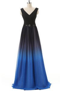 Beautiful Blue And Black Empire Beading Prom Gown Lace Up Chiffon Sleeveless
