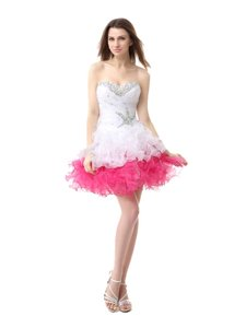 Glamorous Organza Sleeveless Knee Length Evening Dress and Beading and Ruffles