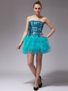 Aqua Blue Organza Zipper Prom Gown Sleeveless Mini Length Beading and Ruffles