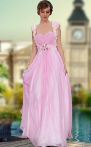 Custom Design Rose Pink Prom Party Dress Prom and Party and For with Belt and Hand Made Flower Sweetheart Sleeveless Zipper