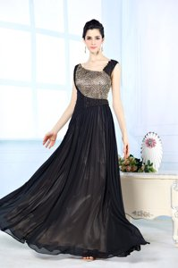 Noble Floor Length Side Zipper Prom Dresses Black and In for Prom and Party with Beading