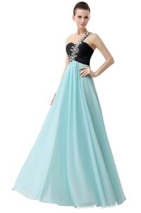 Nice One Shoulder Sleeveless Prom Dress Floor Length Beading and Ruffles Blue And Black Chiffon