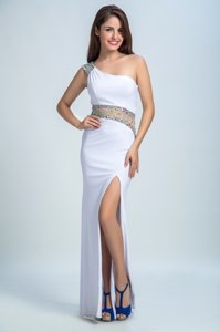 One Shoulder White Column/Sheath Beading Prom Dresses Side Zipper Elastic Woven Satin Sleeveless Floor Length