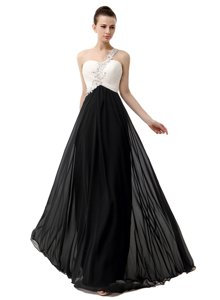 White And Black One Shoulder Zipper Beading Prom Gown Sleeveless