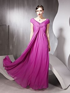 Dazzling Rose Pink Zipper Prom Gown Beading and Ruching Cap Sleeves Floor Length