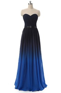 Great Floor Length Blue And Black Prom Party Dress Sweetheart Sleeveless Lace Up