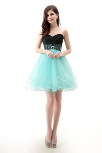 High End Tulle Sweetheart Sleeveless Zipper Lace Prom Evening Gown in Blue And Black