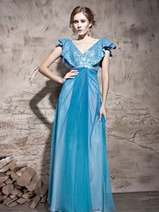 Edgy Teal Tulle Zipper V-neck Cap Sleeves Floor Length Sequins
