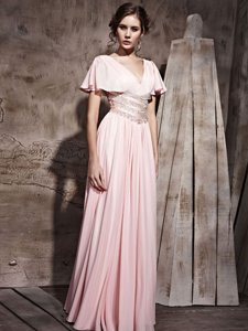 Pink Side Zipper V-neck Beading and Ruching Homecoming Dress Chiffon Short Sleeves