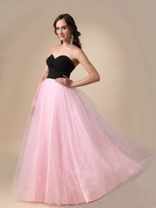 Black and Pink Zipper up Prom Dresses Sweetheart Floor-length in Embu