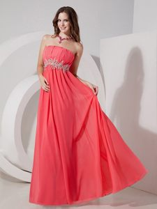 Ruche Strapless Prom Gown Dress Beading Waist Floor-length Watermelon