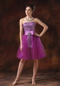 Fushia Sequins Prom Cocktail Dress with Beaded Sash Strapless Mini-length
