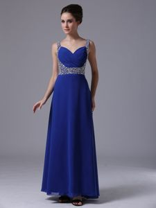 Latest Chiffon Ankle-length Prom Gown Dress Beaded Straps in Royal Blue