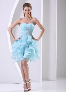 Ruched and Beaded Bodice Prom Celebrity Dress with Multi-layered Ruffles