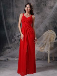 Sexy Red Ruched Prom Holiday Dress Beading High Slit with Cutouts Back