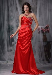 Fave Beaded Strapless Prom Bridesmaid Dress Red Sweetheart Brush Train