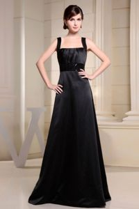 Black Square Neckline Prom Graduation Dress Wide Straps Satin for 2013