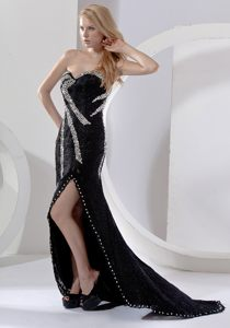 Sweetheart Beading Prom Bridesmaid Dresses Black with Slit on the Side