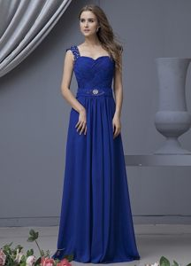 Magnificent Chiffon Beaded Straps Prom Evening Dress Ruched Sweetheart