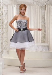 Mini-length Strapless Leopard Print Prom Gown Dress Beading in Fashion