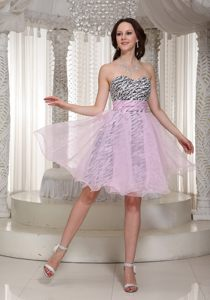 Special Zebra Print Prom Holiday Dress with Beading Sweetheart Organza