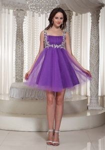 Purple Appliques Prom Cocktail Dress Square Neckline in Tulle Mini-length
