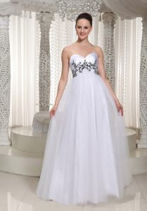 Simple White Sweetheart Prom Evening Dress Tulle Appliques Floor-length