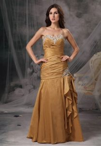 Sweetheart Dress for Prom Appliques and Ruches Floor-length in Vogue