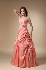 Noble Taffeta Floor-length Prom Cocktail Dresses Strapless with Pick-ups