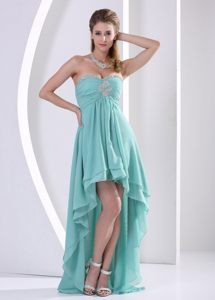 Lace-up Ruched Prom Homecoming Dress High-Low Beading Sweetheart