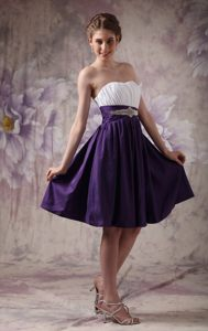 Limeira Sweet White and Purple Knee-length Prom Gowns Beading Taffeta