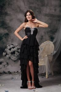 Beautiful Black Prom Homecoming Dress Beading Ruffled Layers High-Low