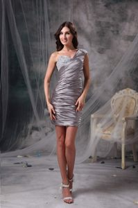Gray One Shoulder Column Beading Ruches Prom Dress of Mini Length